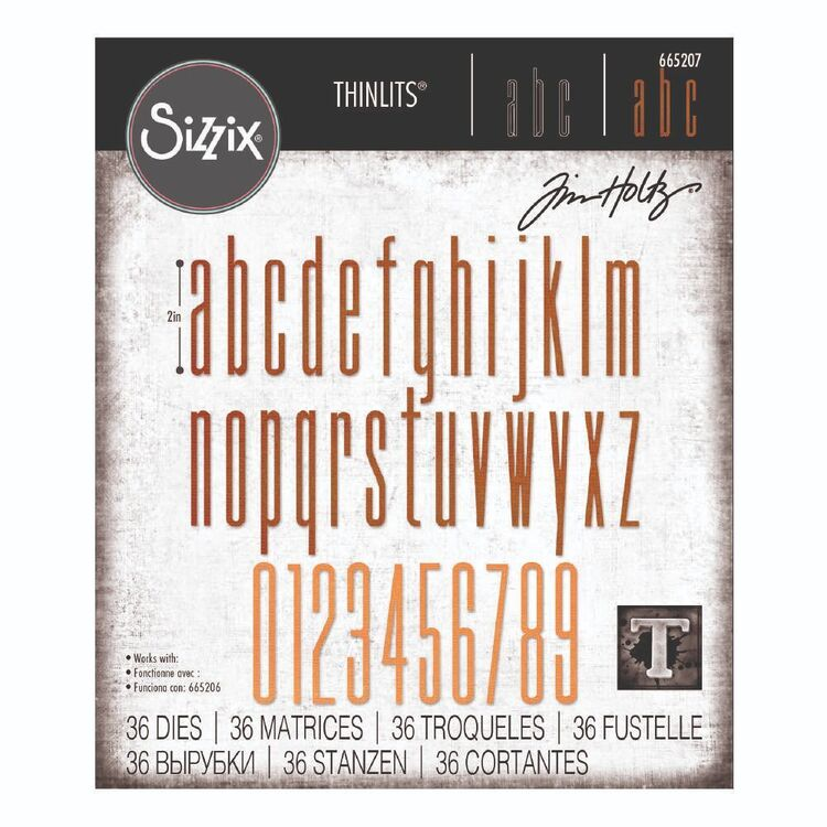 Sizzix Thinlits By Tim Holtz 36 Pack Alphanumeric Stretch Lower & Number Die Set