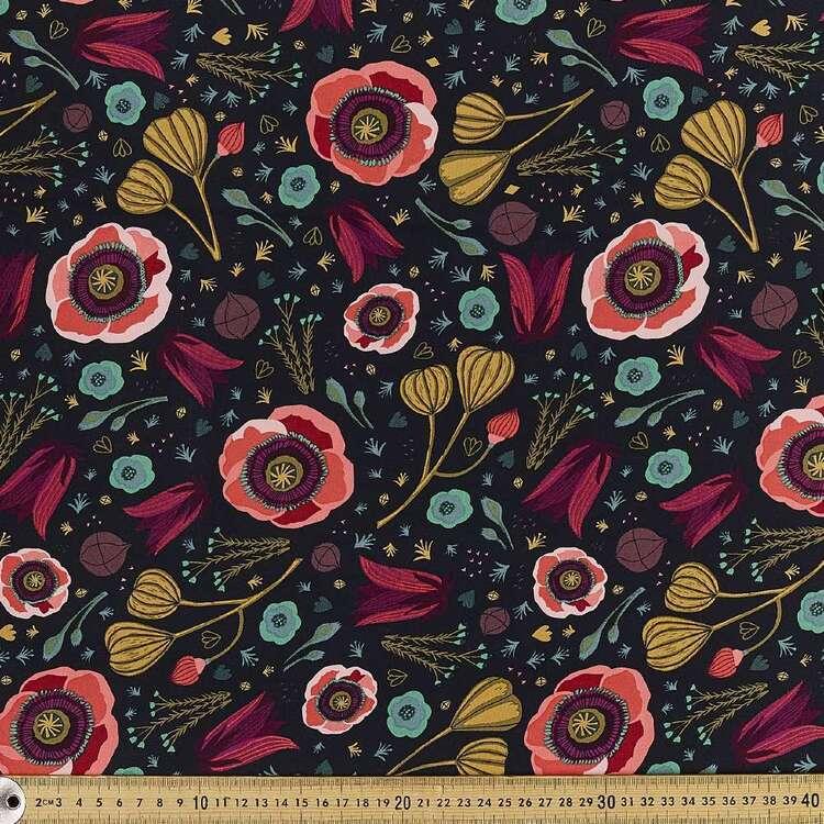 Cloud 9 Dark Blooms Printed 112 cm Organic Cotton Poplin Fabric