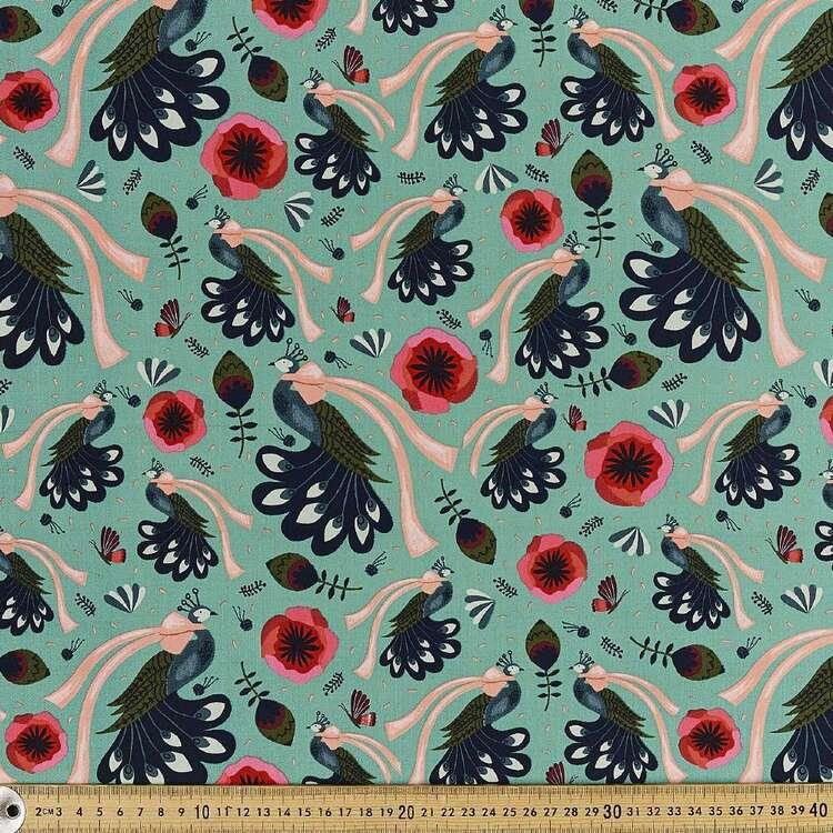 Cloud 9 Peacock Bows Printed 112 cm Organic Cotton Poplin Fabric
