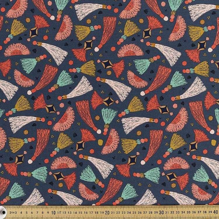 Cloud 9 Tawny Tassels Printed 112 cm Organic Cotton Poplin Fabric