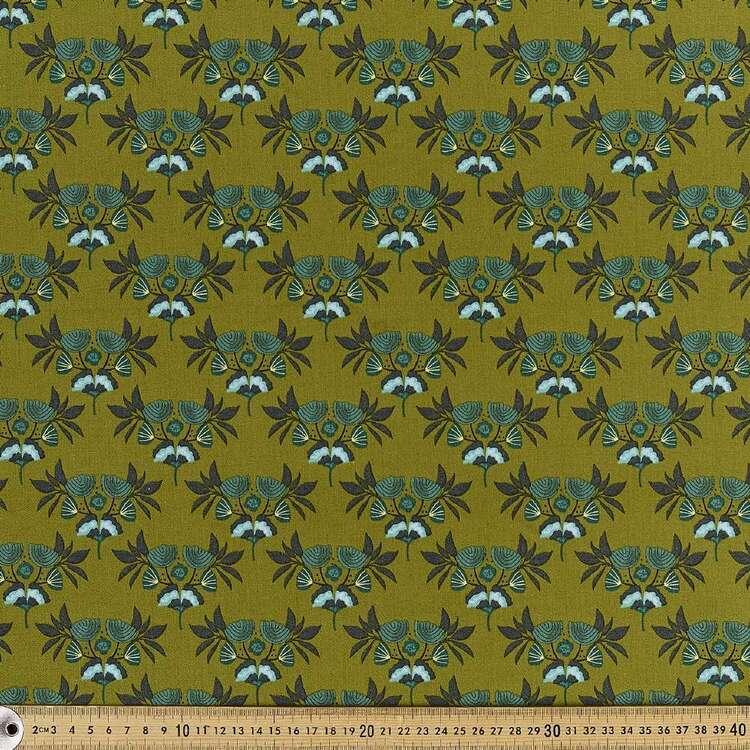 Cloud 9 Emerald Stems Printed 112 cm Organic Cotton Poplin Fabric