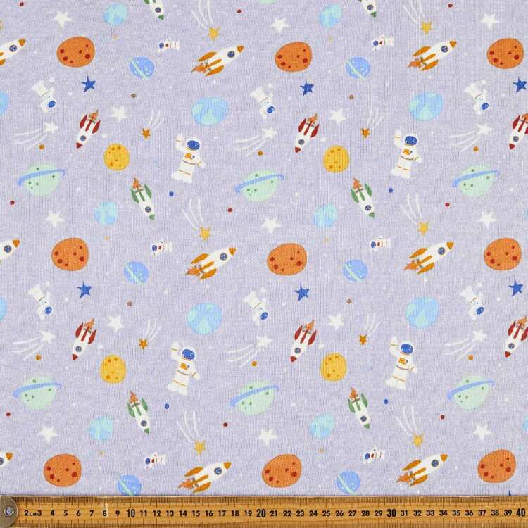 Space Printed 148 cm French Terry Fleece Fabric