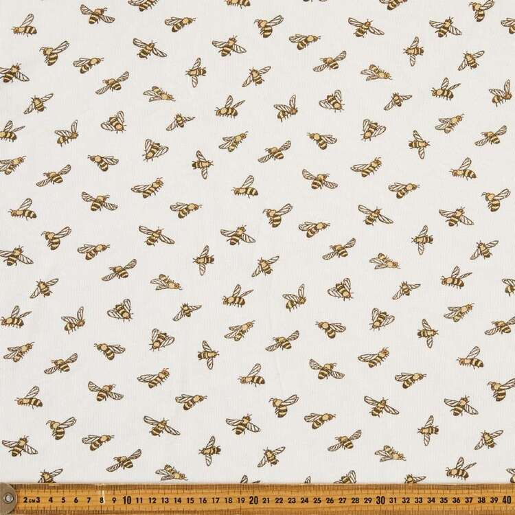 Bees Printed 148 cm French Terry Fleece Fabric