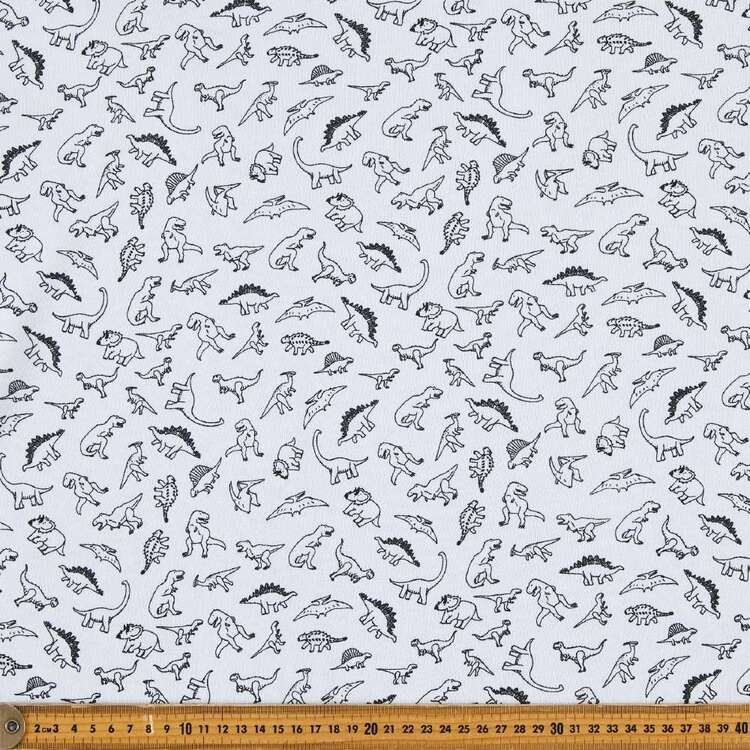 Dinosaurs Printed 148 cm French Terry Fleece Fabric