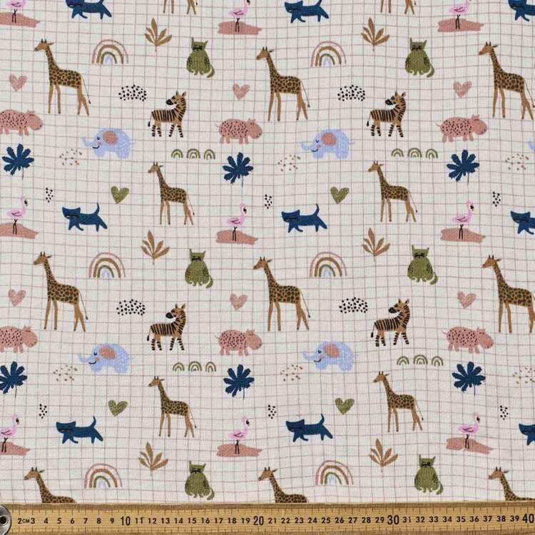 Safari Printed 148 cm French Terry Fleece Fabric