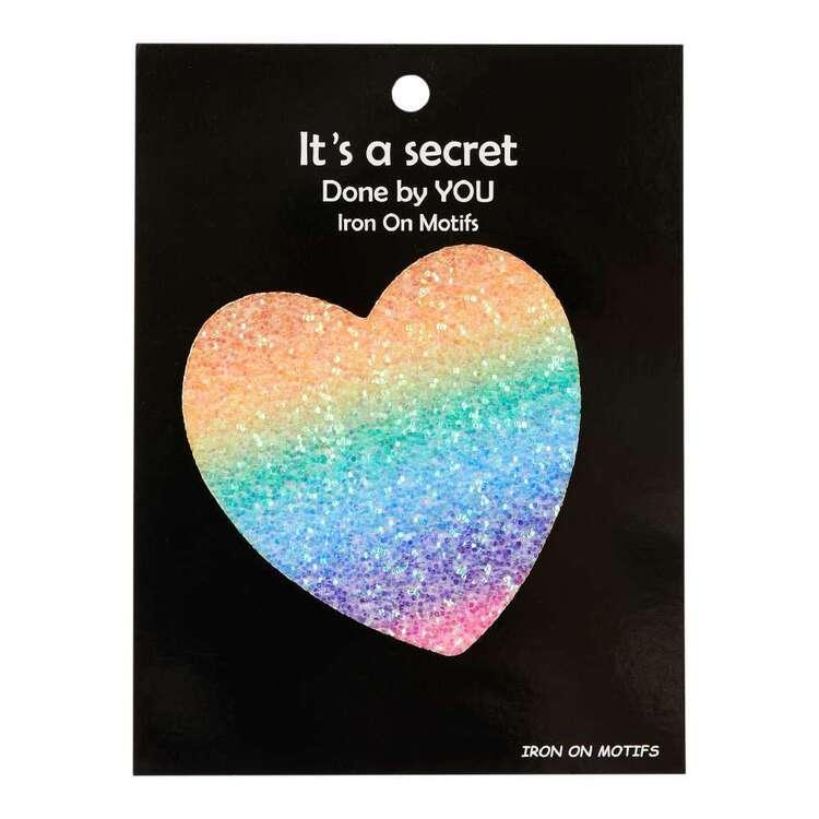 Rainbow Glitter Heart Iron On Motif
