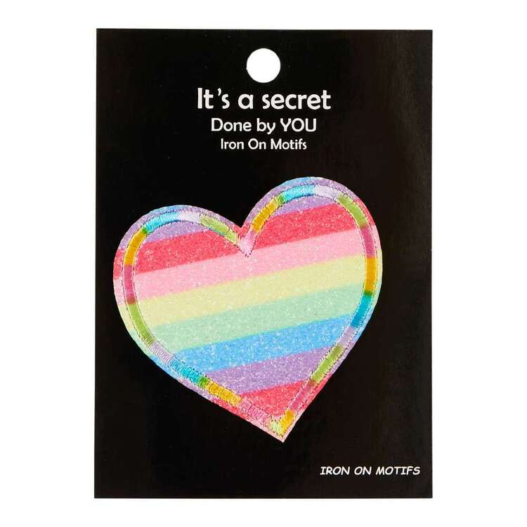Embroidered Rainbow Heart Iron On Motif