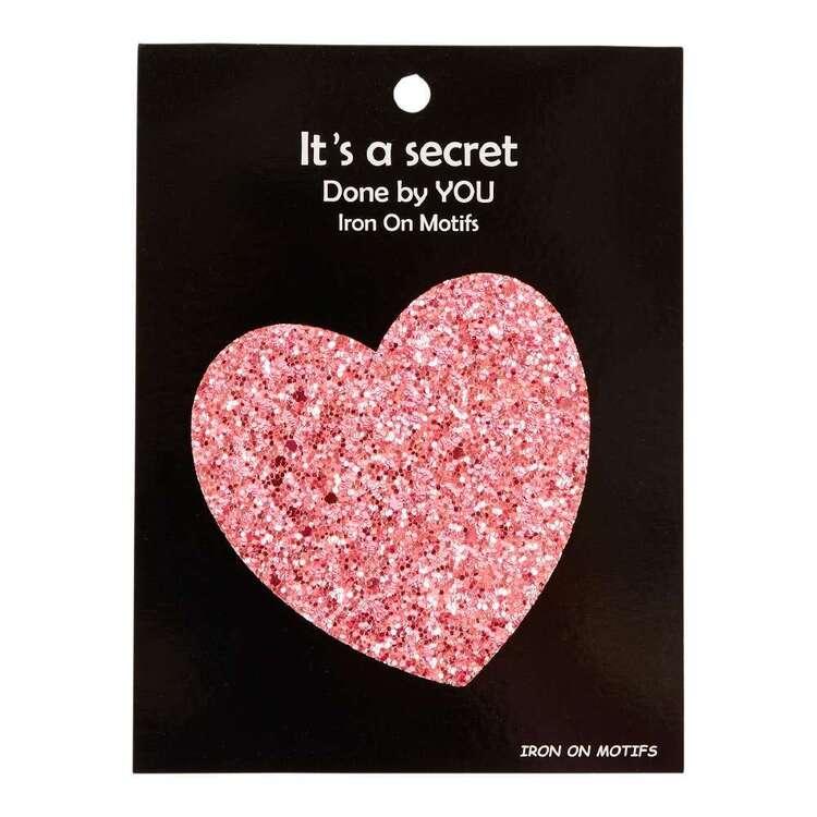 Pink Glitter Heart Iron On Motif