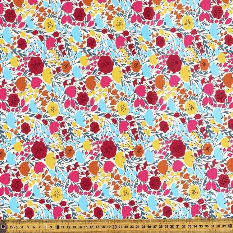 Ditzy Tulips Printed 112 cm Comb Cotton Fabric