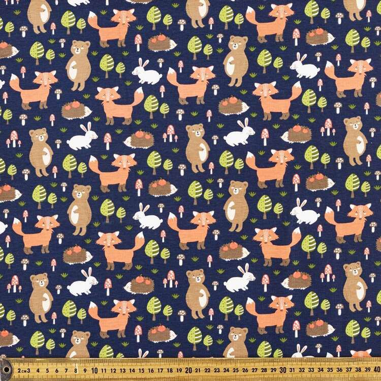 Woodland Fun Printed 112 cm Comb Cotton Fabric