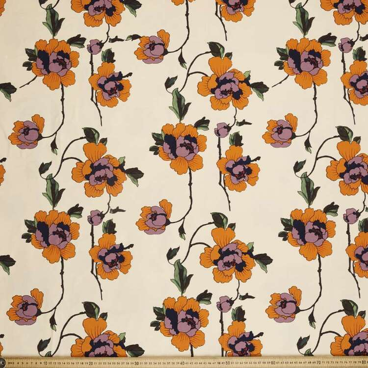 Floral #3 Printed 148 cm Bengaline Suiting Fabric