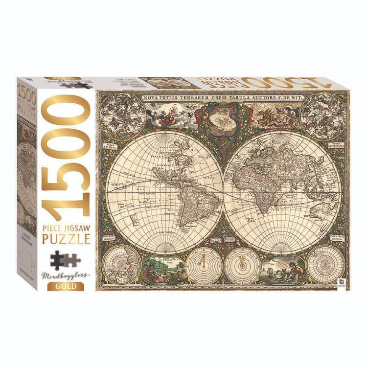 Mindbogglers Gold: Vintage World Map 1000 Pieces Jigsaw Puzzle