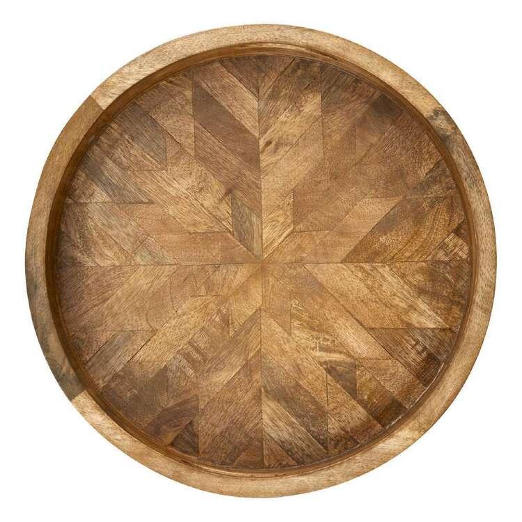 Bouclair Fur Statement Mango Wood Round Tray