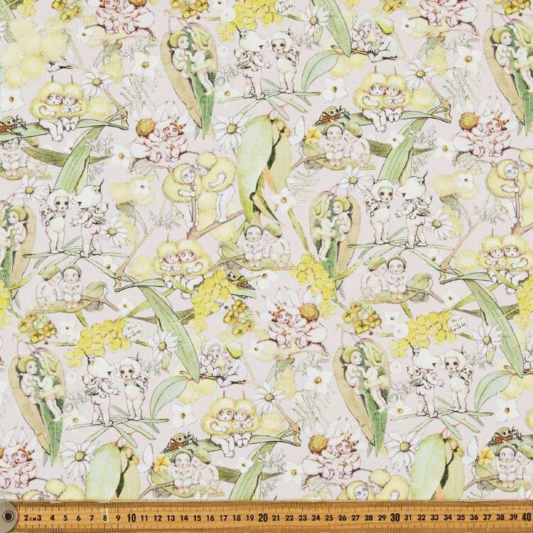May Gibbs Gossip Gumnuts 140 cm Cotton Linen Fabric