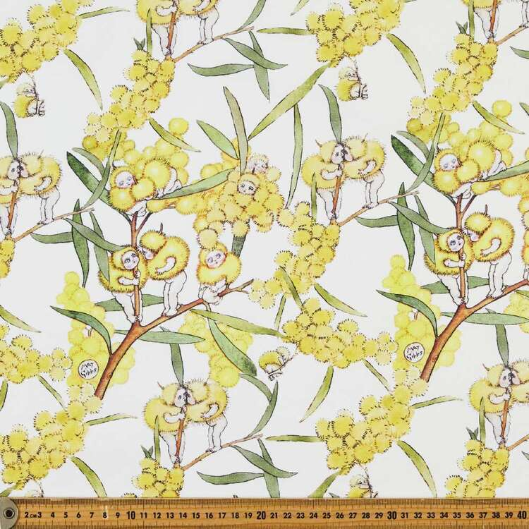 May Gibbs Wattle Babies 140 cm Cotton Linen Fabric