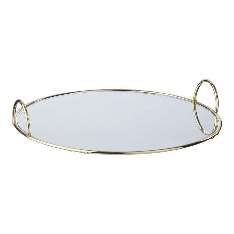 Living Space Mirrored Tray With Handles