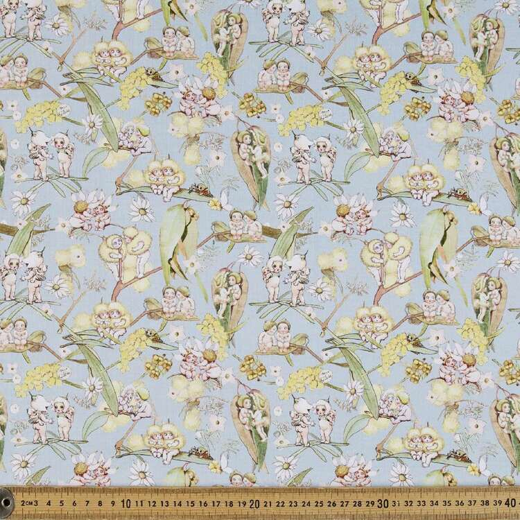 May Gibbs Gossiping Gumnuts Cotton Spandex Fabric