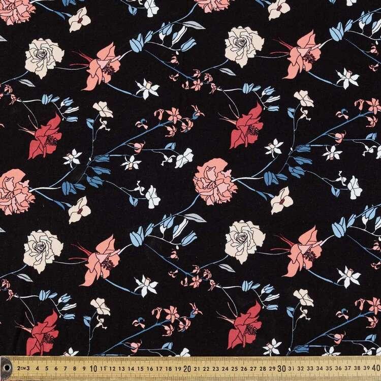 Dark Blooms Printed 148 cm Rayon Spandex Fabric