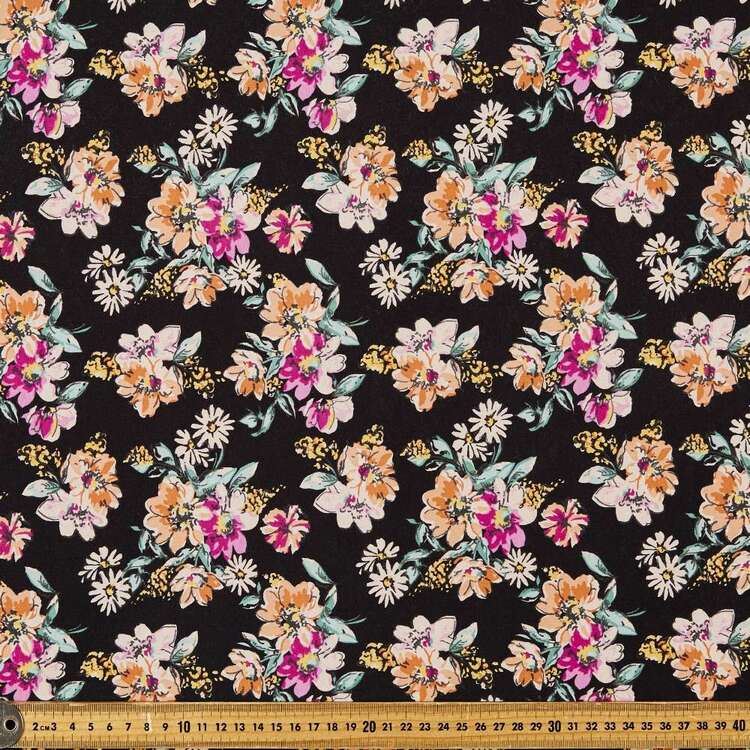 Daisy Floral Printed 112 cm Organic Cotton Jersey Fabric