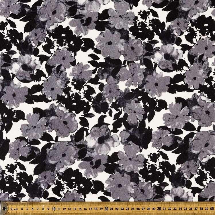 Mono Floral Printed 148 cm Scuba Knit Fabric
