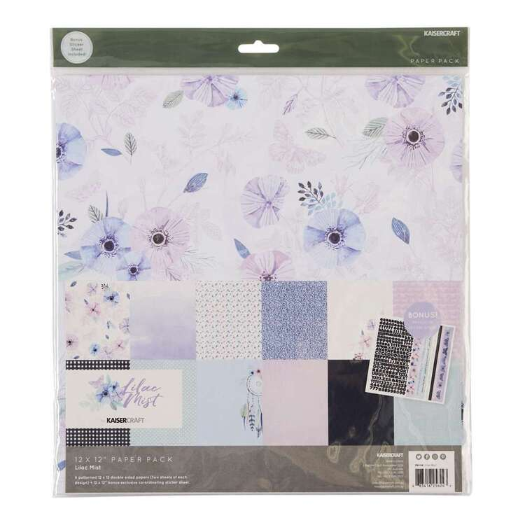 Kaisercraft 12 x 12 in Purple Liac Mist Paper Pack