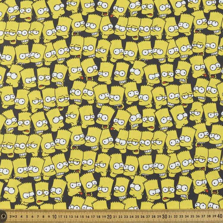 The Simpsons Bart Heads Cotton Fabric