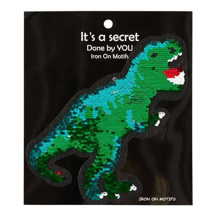 Iron On T-Rex Reversible Sequin Motif