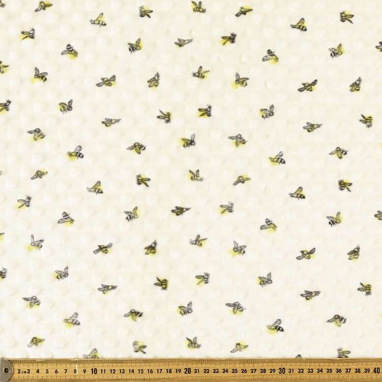 Bees Printed Minky Dot 150 cm Nursery Fleece Fabric