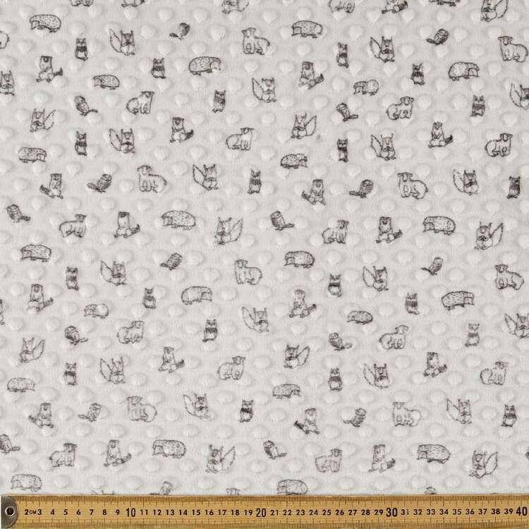 Animals Printed Minky Dot 150 cm Nursery Fleece Fabric