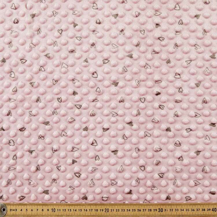 Hearts Printed Minky Dot 150 cm Nursery Fleece Fabric