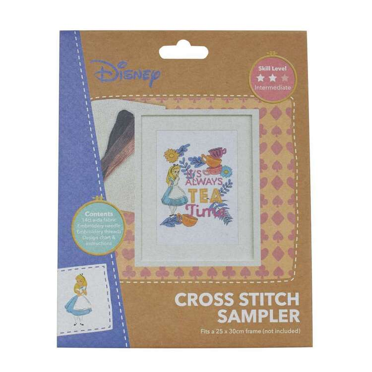 Disney Alice Tea Time Cross Stitch Sampler
