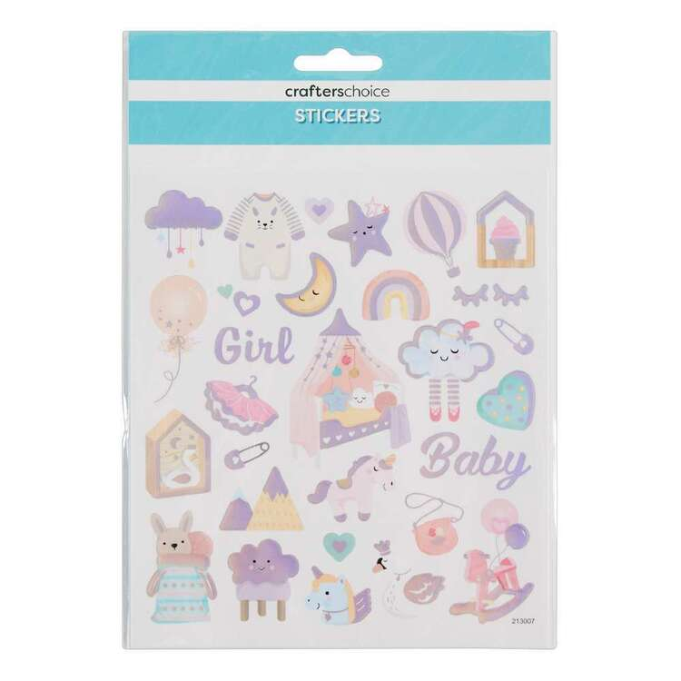 Crafters Choice Rainbow Foil Baby Girl Stickers