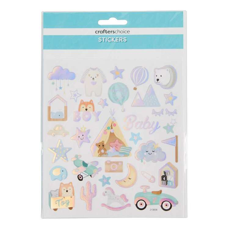 Crafters Choice Rainbow Foil Baby Boy Stickers