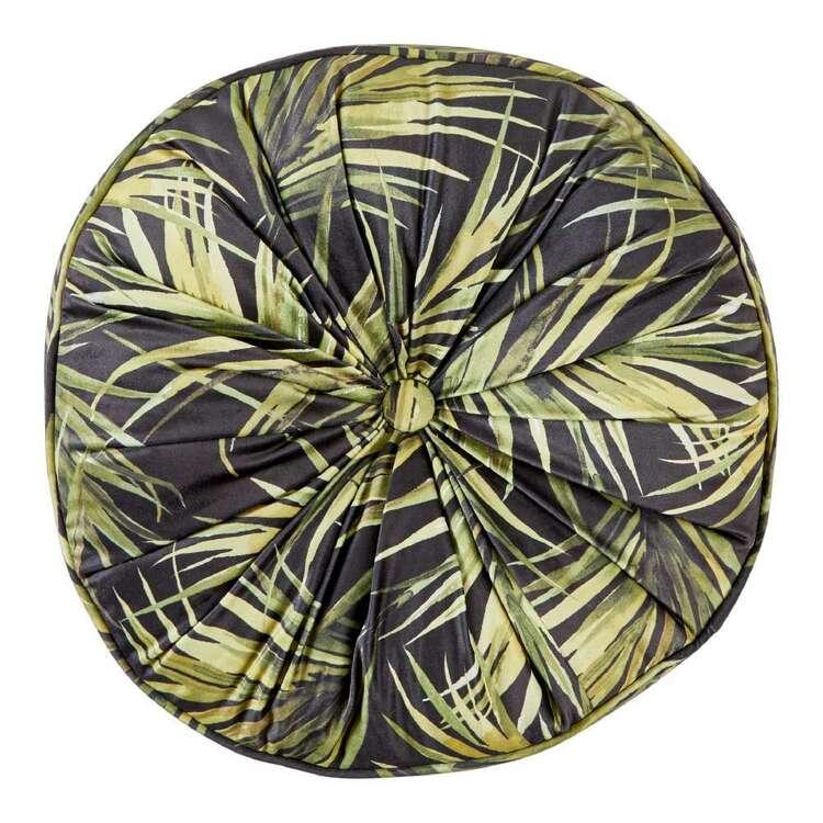 Koo Palms Printed Velvet Round Cushion