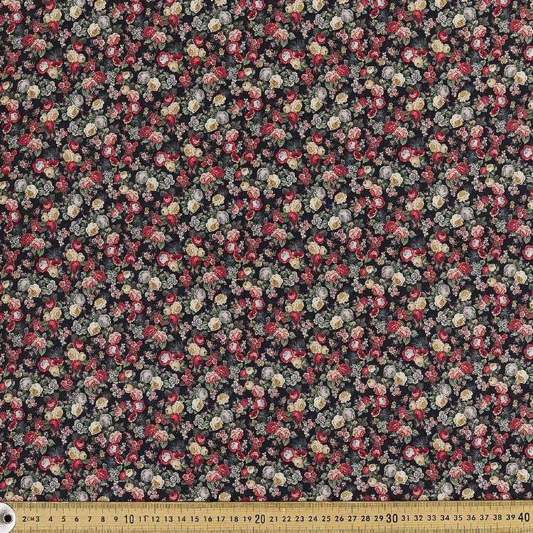 Cascading Roses Digital Printed 142 cm Combed Cotton Sateen Fabric