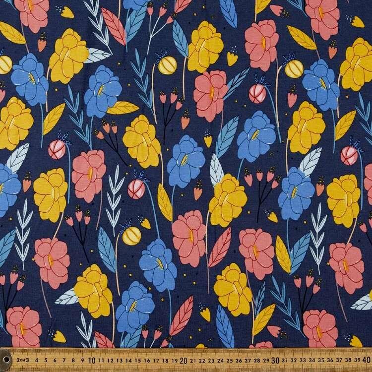 Pressed Floral Printed 148 cm Rayon Elastane Fabric