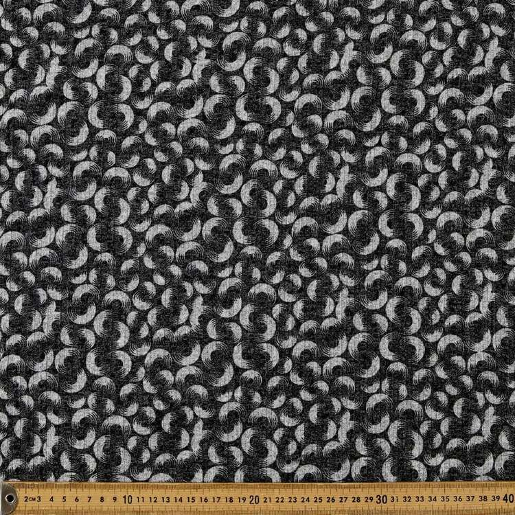 Monochromatic Circle Spots Printed 145 cm Ribbed Knit Fabric