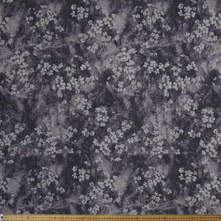 Monochromatic Dreamy Floral Printed 145 cm Ribbed Knit Fabric