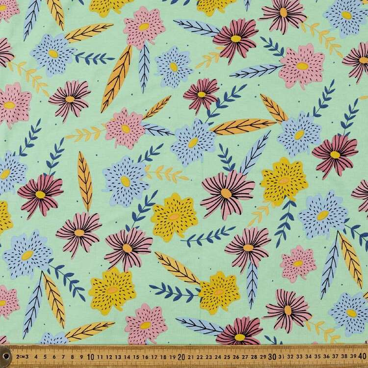 Retro Floral Printed 148 cm Rayon Elastane Fabric