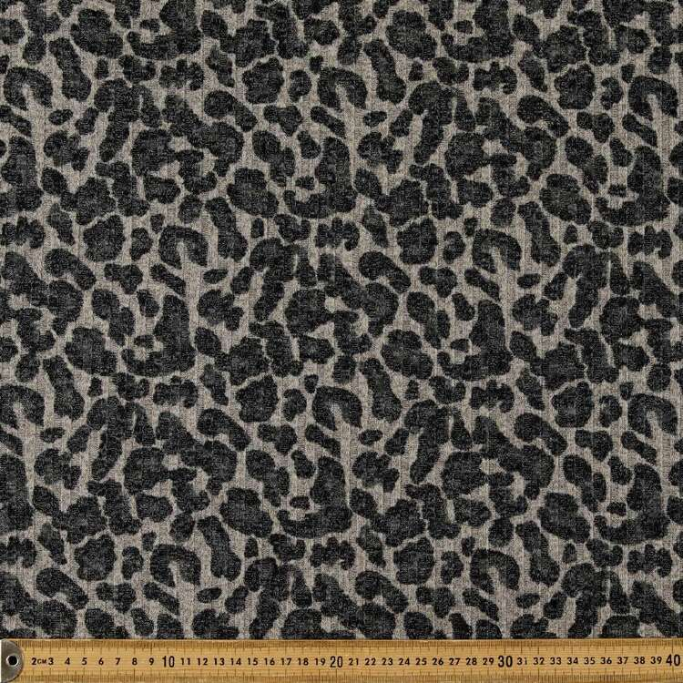 Monochromatic Leopard Spots Printed 145 cm Ribbed Knit Fabric