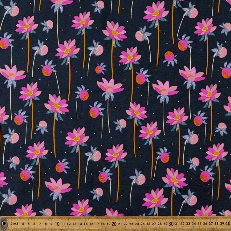 Daisy Stems Printed 148 cm Rayon Elastane Fabric