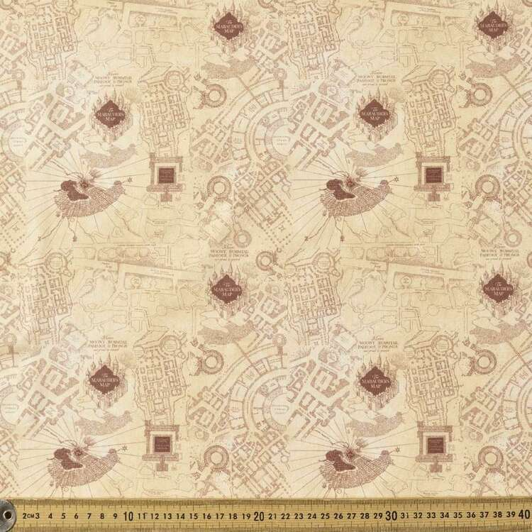 Harry Potter Marauder's Map In Detail Cotton Fabric