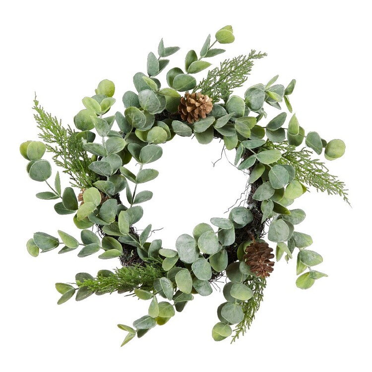Living Space 48 cm Wreath With Pinecones