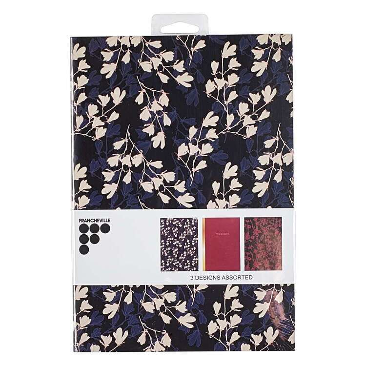 Francheville A5 Dark Floral Red Notebook 3 Pack