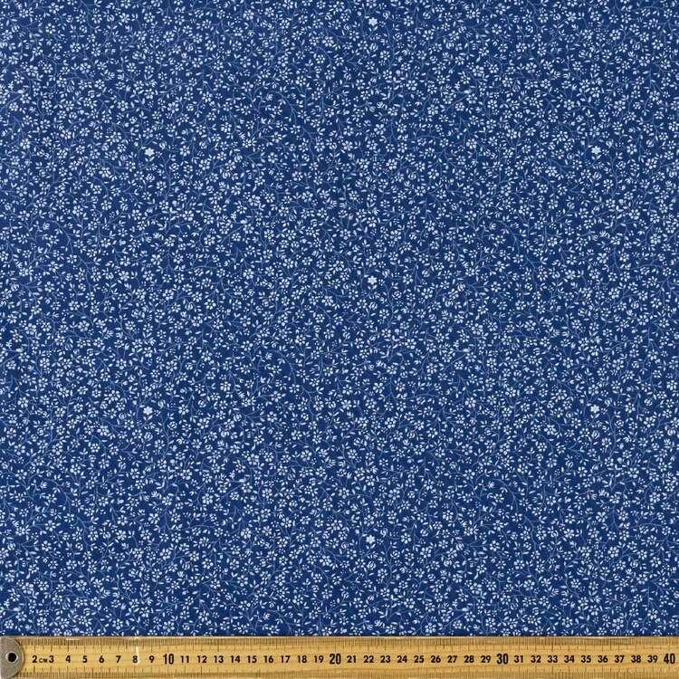 Oriental TC Blue Vine Printed 112 cm Polyester Cotton Poplin Fabric