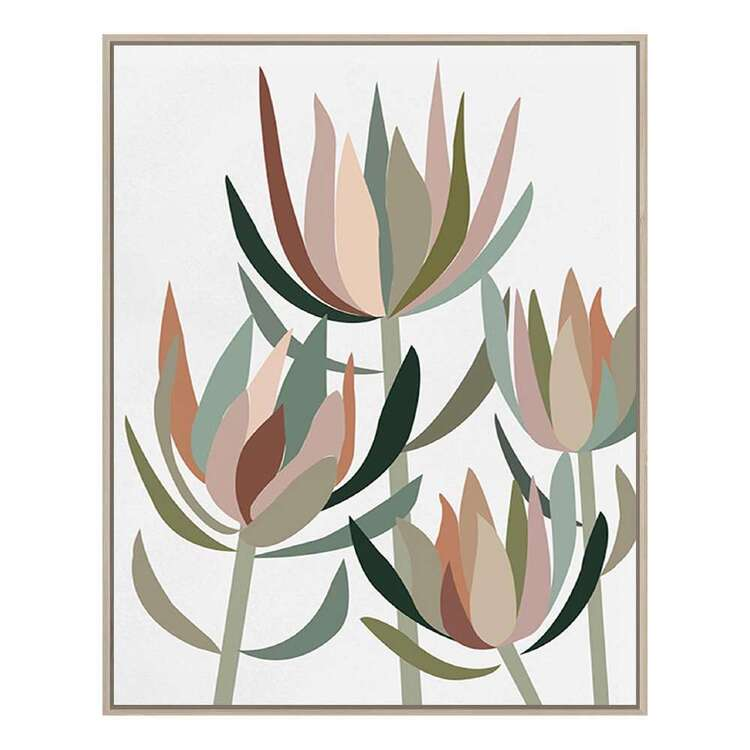 Cooper & Co Platinum Geometric Protea Framed Canvas