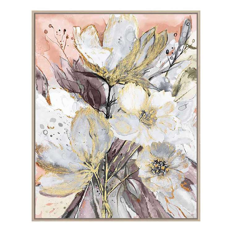 Cooper & Co Platinum Flower Bouquet Framed Canvas