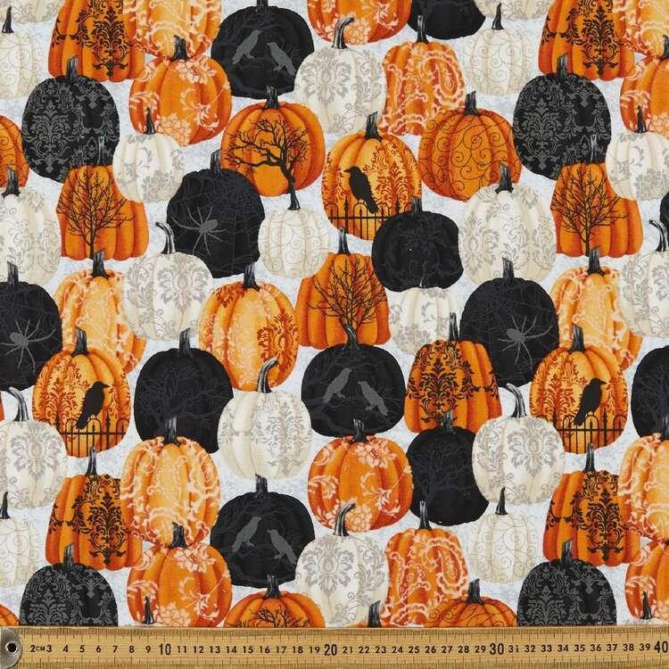Spooky Night Damask Pumpkin Cotton Fabric