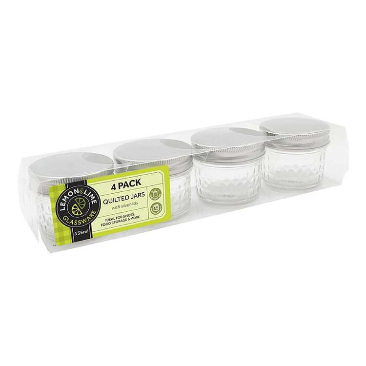 Lemon & Lime Quilted Glass 4 Pack 135 mL Conserve Jar
