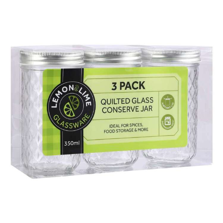 Lemon & Lime Quilted Glass 3 Pack 350 mL Conserve Jar